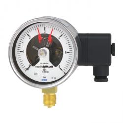 Manomètre boitier inox raccord laiton à contact électriques intégrés