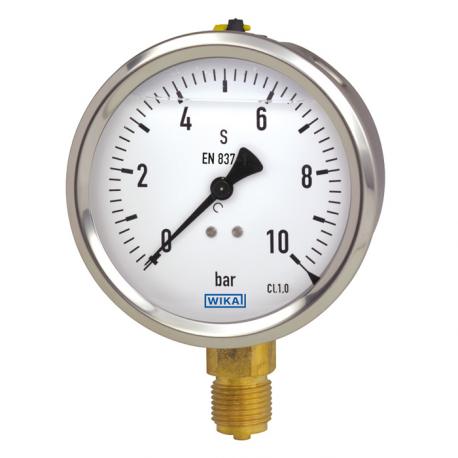 Manomètre boitier inox raccord laiton application standard 213.53 raccord vertical - face